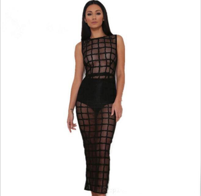 Black Nouveau Net Fils Perspective Robe Nightclub 2018 Sexy Printemps Été qMUVpSz