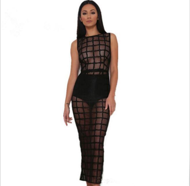 2018 printemps été nouvelle Sexy Net fil Perspective discothèque robe de soirée