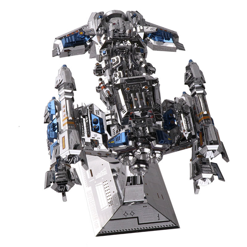 MU 3D Metal Puzzle Star Craft multicolour battlecruiser YM-N015-BS Model DIY 3D Laser Cut Assemble Jigsaw Toys For Audit mu bumblebee t6 diy 3d metal puzzle assemble model kits laser cut jigsaw toys ym l066