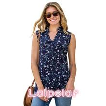 купить 2018 Chiffon Top Shirt Women Blouse Casual Sleeveless Tunic V Neck Summer Loose Tops Shirts Womens Tops Blouses For Female онлайн