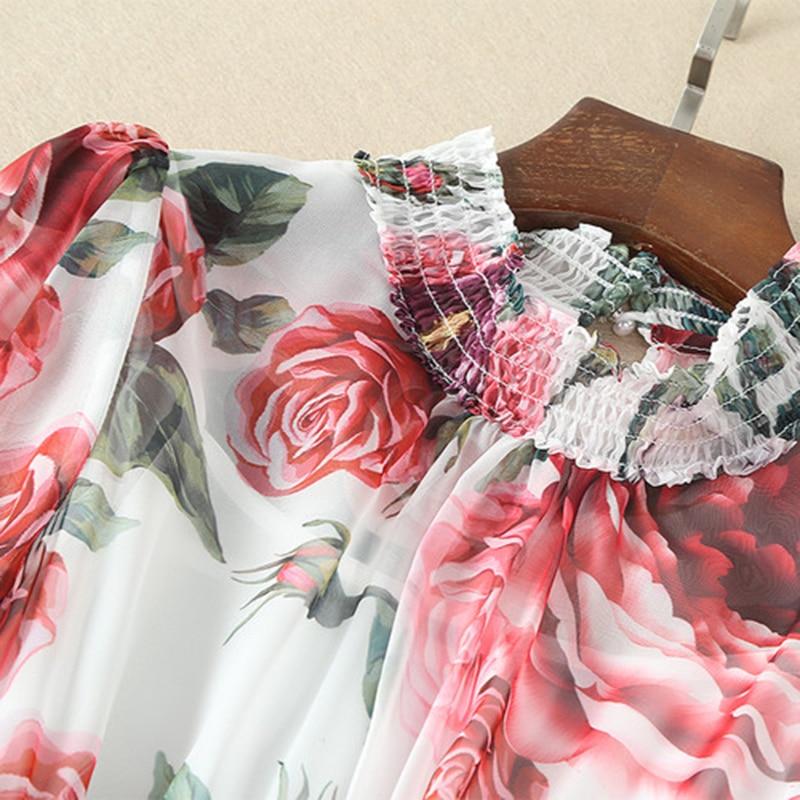 2018 Spring New Print Floral Dress Women High Quality Full Sleeve Mid-Calf Length Slim Flowers Dresses Female
