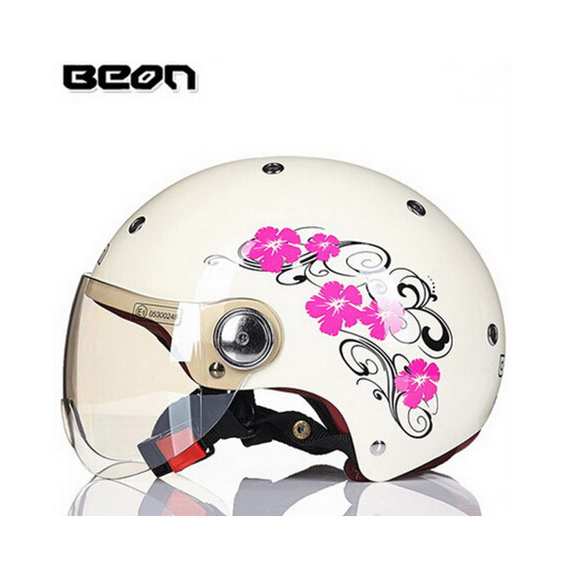 beautiful women's motocross half face Helmet with flower, women lover BEON 103 motorcycle MOTO electric bicycle safety headpiece ece matte black beon full face motocross helmet for women motorcycle moto electric bicycle safety headpiece
