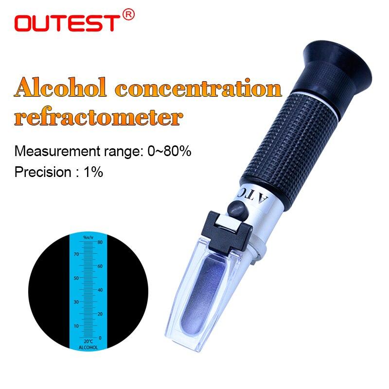 OUTEST Réfractomètre D'alcool Alcoomètre mètres 0 ~ 80% V/V ATC Outil De Poche Densimètre RZ122 concentration esprits testeur vin