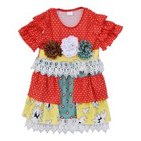 High Quality Boutique Remake Dress Fashion Brand Floral Lace Girls Dress Spring Summer Cotton Children Ruffle Clothing DX030