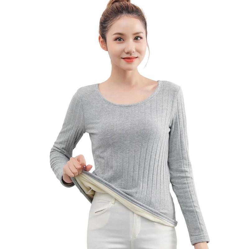 Ventre Plat Ladies Scoop Neck Long Sleeve Warm Winter Thermal Inner Base Layer Tops