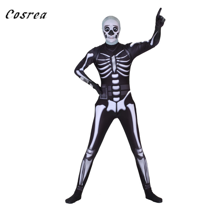 Fortress Night Skull trooper Skeleton Cosplay Costumes Adult Scary Mask Halloween Zentai Bodysuit Jumpsuit Kids Child Men Gift