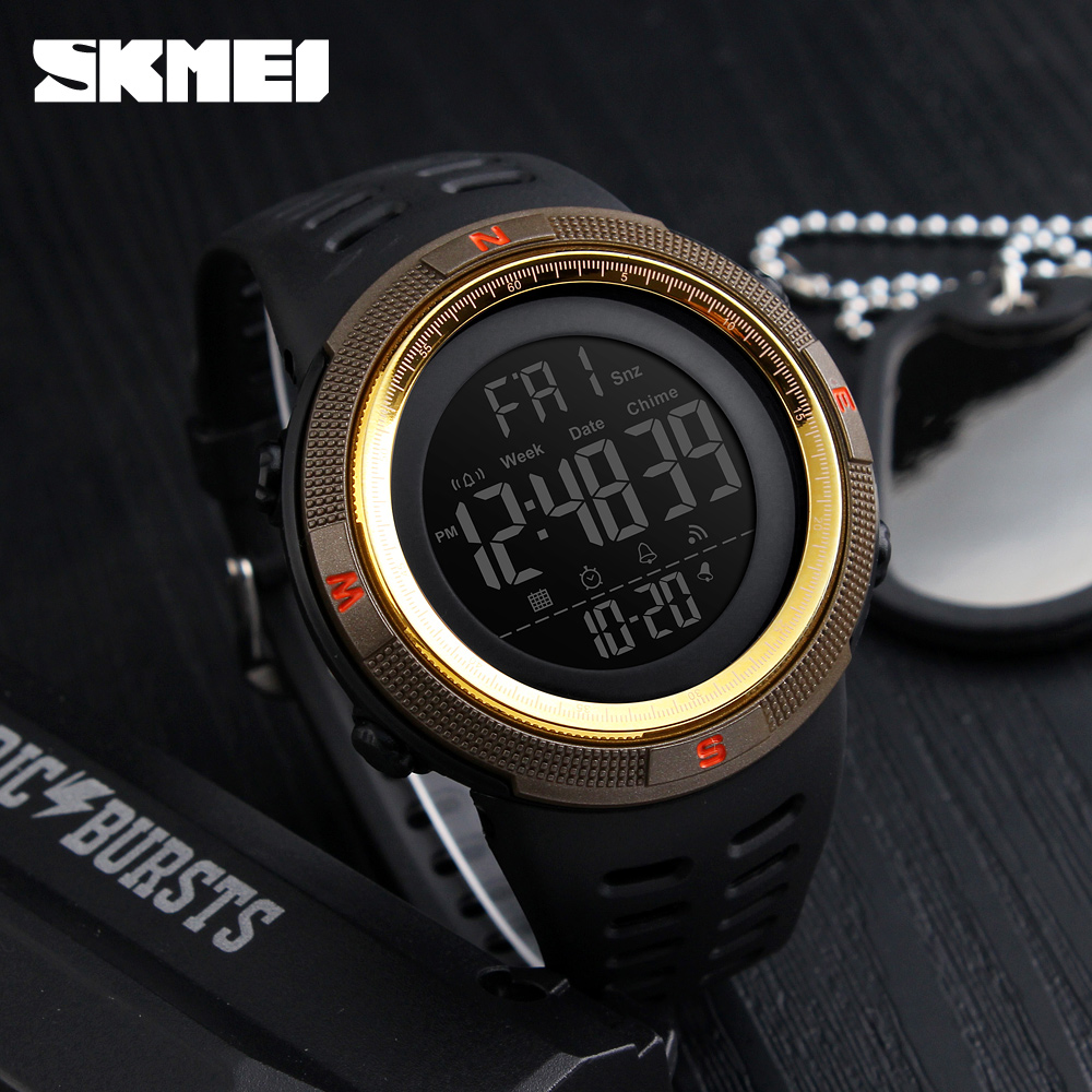 Men's Sport Watches Chrono Countdown Dual Time Wristwatches Men Waterproof Digital Watch Man military Clock Relogio Masculino