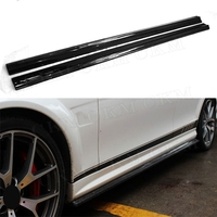 C Class Carbon Fiber / FRP Side Skirt Bumper Lip Aprons Flaps for Benz W204 C204 C300 C63 AMG 2 Door 4 Door 2012 2014