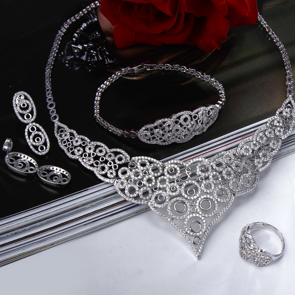New wedding sets for brides High end Cubic zircon jewellery 4 piece jewelry sets Fast shipping