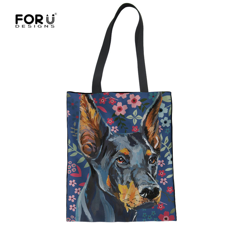 FORUDESIGNS Womens Linen Shopping Bags Rottweiler Shepherd Dog Female Casual Summer Recycle Eco-friendly Totes For Girls Bag ...