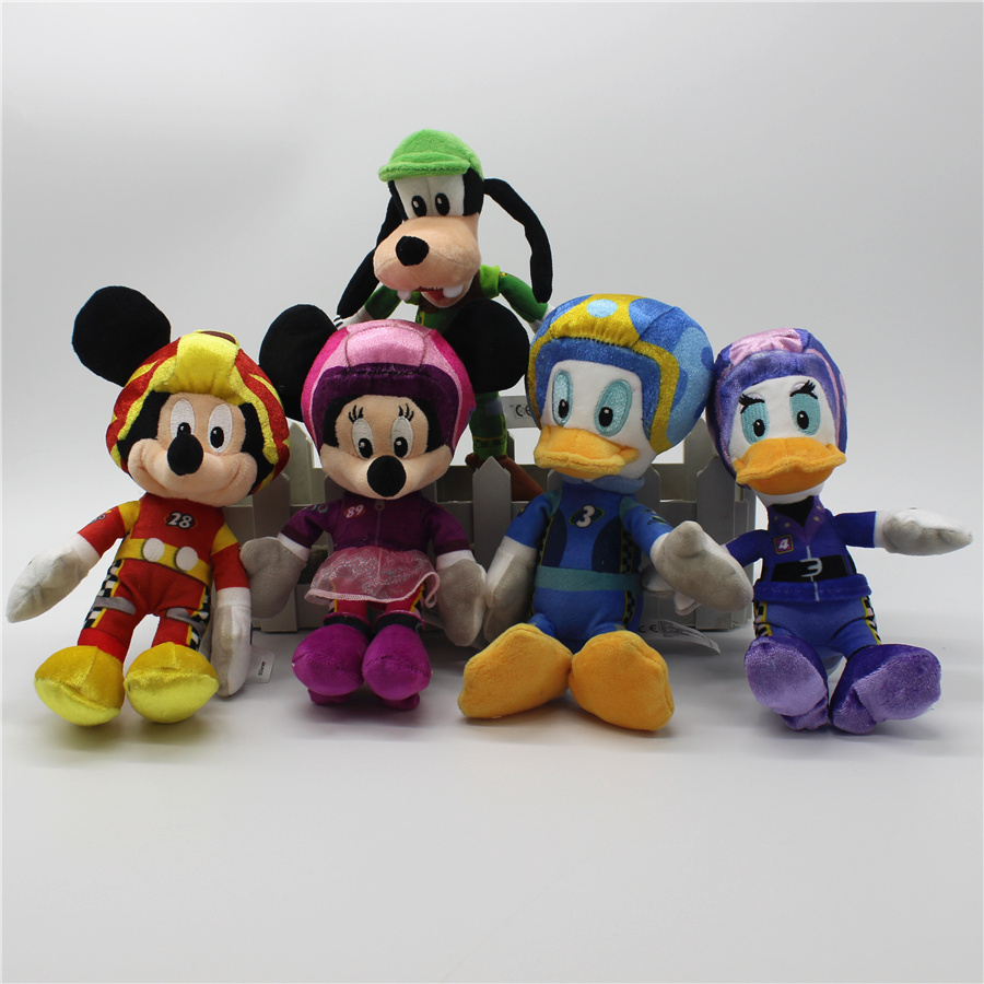 1 pcs 20 cm Original Mickey Brinquedos Racer Racers Mickey Minnie Donald Margarida Pateta Mickey e Roadster bonecos de pelúcia macia