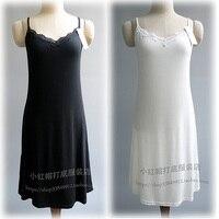 Modal medium long spaghetti strap basic underskirt sweep placketing tank dress basic slip women's black and white full slip