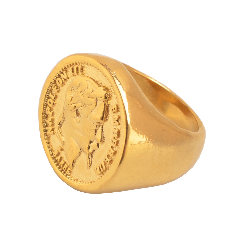 Gold Color New Turkish Coin Ring Copper Metal Arab Turkey Wedding Rings Jewelry Gifts For Women Men J0837 In Bands From