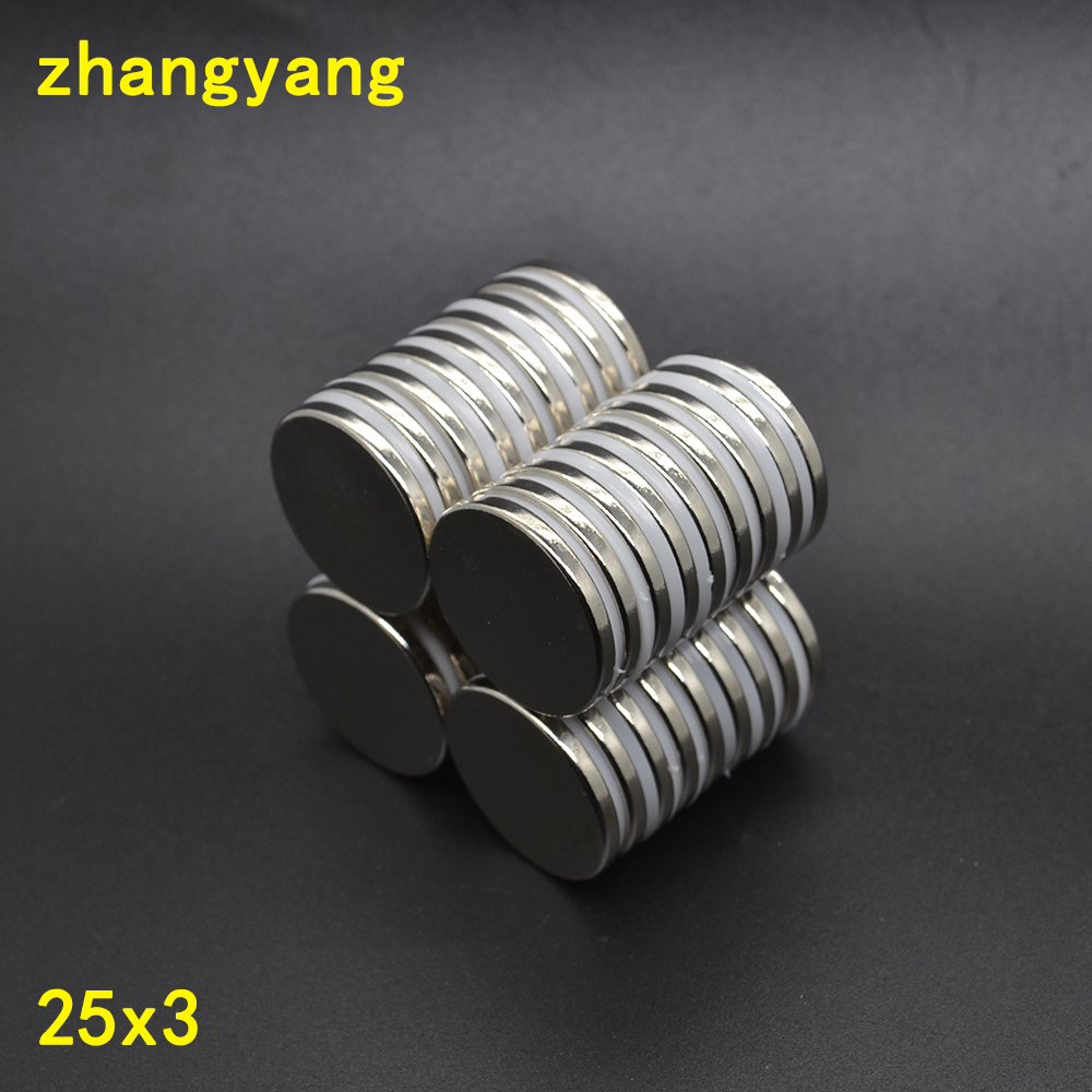 100pieces 25*3 N52 Strong Round Cylinder Magnet 25x3mm Rare Earth Neodymium Magnet 25x3 25mmx3mm 25mm*3mm-in Magnetic Materials from Home Improvement