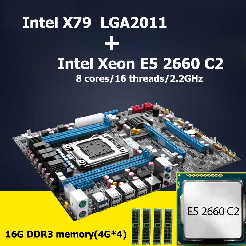 Prix pour HUANAN carte mère CPU combos révision 2.47 Intel X79 LGA 2011 carte mère avec CPU Xeon E5 2660 C2 16G DDR3 RECC RAM 4 canal