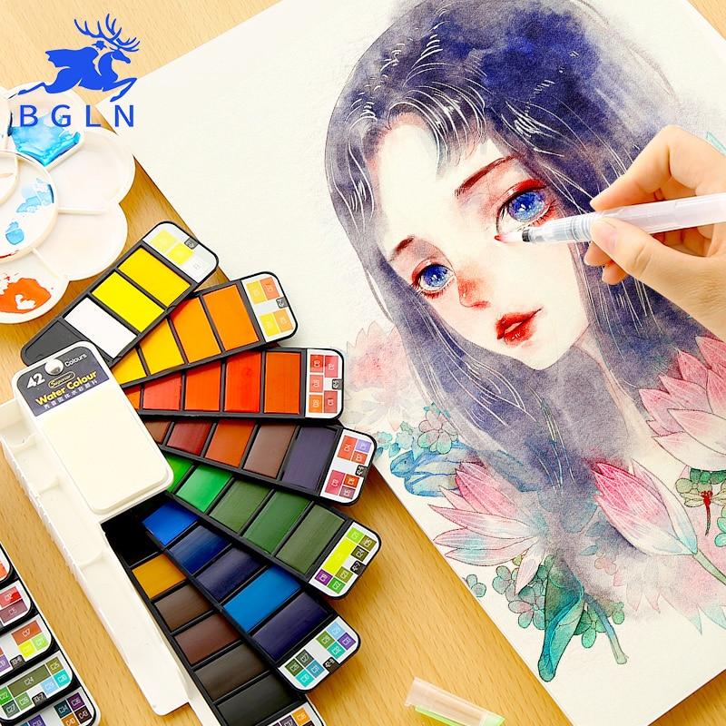 Bgln conjunto de pintura a cores de água sólida portátil com pincel de pintura cor brilhante aquarela pigmento conjunto para fontes da arte do estudante