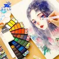 Bgln conjunto de pintura a cores de água sólida portátil com pincel de pintura cor brilhante aquarela pigmento conjunto para fontes da arte do estudante|Water Color| |  -