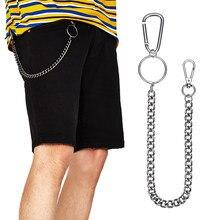 38 cm de acero inoxidable Metal largo cartera cinturón cadena Punk Rock  pantalones Hipster pantalones de Jean de Clip de llavero. 07aef782bb95