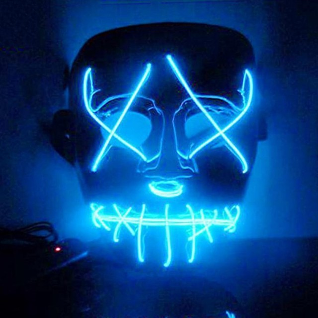 Draht Leuchten Neon Maske Für Halloween Party LED Licht Up Lustige ...