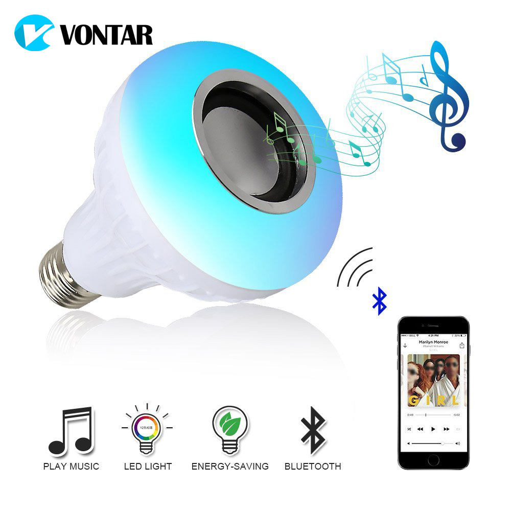 VONTAR E27 B22 Bulb bluetooth speaker for phone RGB Led Bulb 110V 220V Music Playing Dimmable 12W E27 LED with 24 Keys