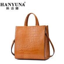 HANYUNA BRAND European Cow Leather Alligator Women's Handbags Genuine Leather Ladies Shoulder Bags Female Crossbody Bags