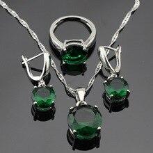 Laboratorio-creado plata Sistemas de La Joyería Para Las Mujeres de Color Verde Esmeralda Collar de Gota Colgante Pendientes Anillos Caja de Regalo Libre