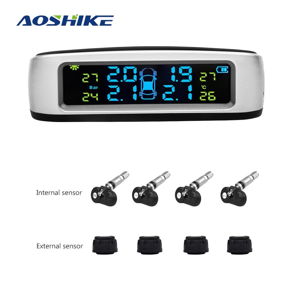 AOSHIKE Wireless Car Tire Pressure Alarm Monitor System TPMS LCD Display Solar Powered Car 4 External Sensor Temperature Alarm