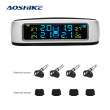 AOSHIKE Wireless Car Tire Pressure Alarm Monitor System TPMS LCD Display Solar Powered 4 External Sensor Temperature