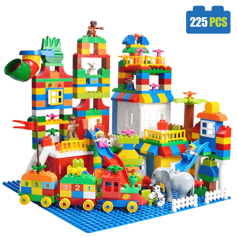 225pcs big size building blocks number train bricks for Cost of building blocks in jamaica 2017