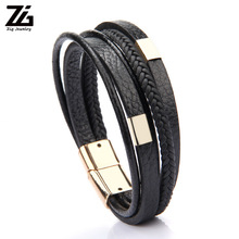 ZG Wholesale Price Classic Genuine Leather Bracelet For Men Gold Color Charm Multilayer Magnet Handmade Gift Cool Boys