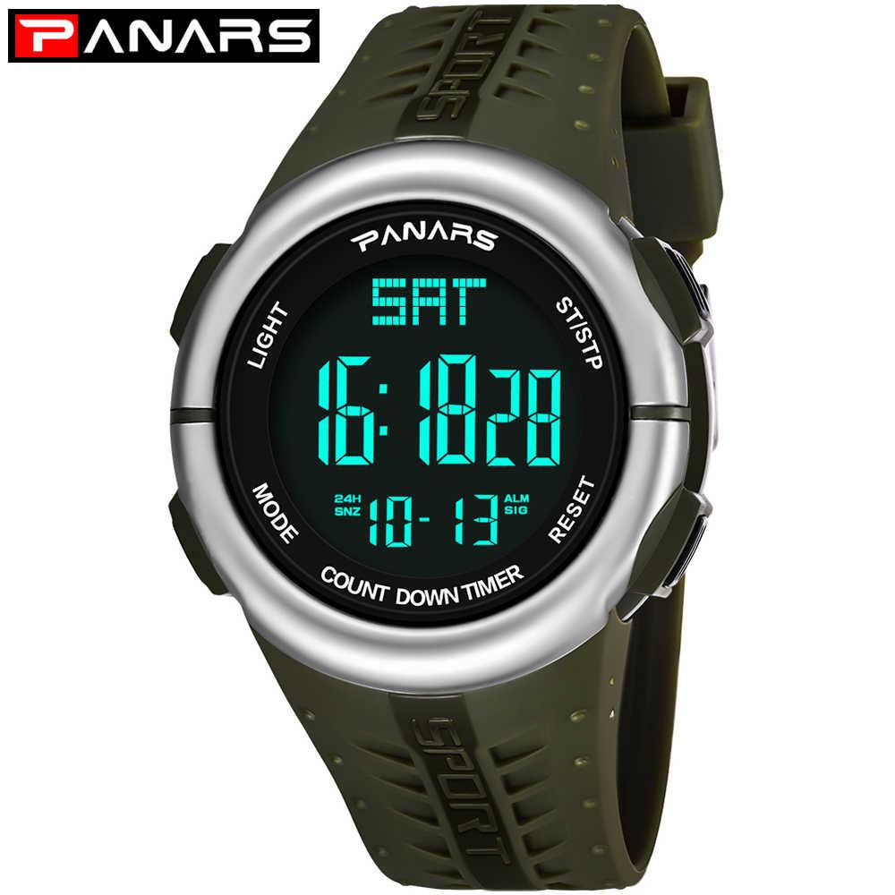 PANARS Mens Relógios Digitais À Prova D' Água de Natação Horas Relógio Despertador Display LED Backlight Relógio de Pulso Pedômetro Relógio Masculino 8002