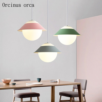 Nordic modern simple glass single head chandelier Restaurant Bar bedroom creative personality new color coloured Chandelier