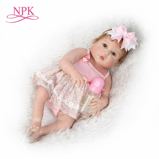 1f73dfebed854 NPK lifelike reborn baby doll full vinyl silicone soft real gentle touch  cameron awake girl gift toys for children