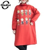 Oladivi Oversized Plus Size Women Apparel Fashion Printed Casual Velvet Sweatshirt Dresses Female Tunic Dress Long