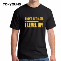 Yo Young Men Summer T Shirts Funny Letters Design Golden PU Printed 100 180g Combed Cotton
