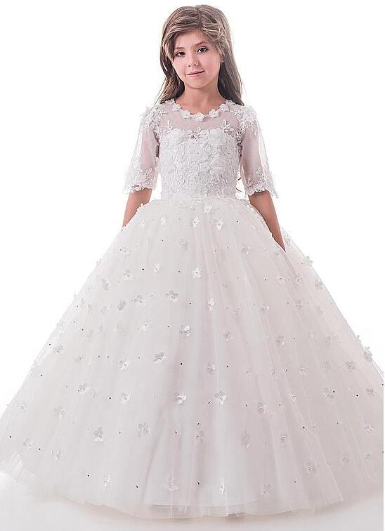 White Ivory Lace Flower Girl Dresses for Weddings First Communion Dresses for Girls Buttons Back Lace 3D Flowers Pageant Gown girl holding flowers pattern protective plastic back case for iphone 5 white yellow