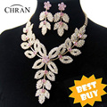 Chran Wholesale Gold Plated Flower Wedding Bridal Austrian Crystal Rhinestone Vintage Necklace And Earring Jewelry Set DDJSR1591