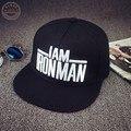 Fashion black snapback hat Captain America Iron Man baseball cap for men and women flat brim hats adjustable [HUB020]