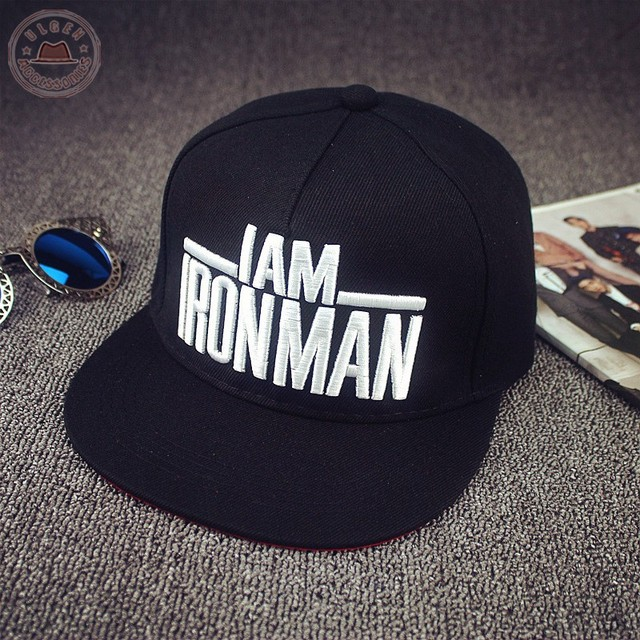9c7c3d4be18b5 Fashion black snapback hat Captain America Iron Man baseball cap for men  and women flat brim hats adjustable  HUB020