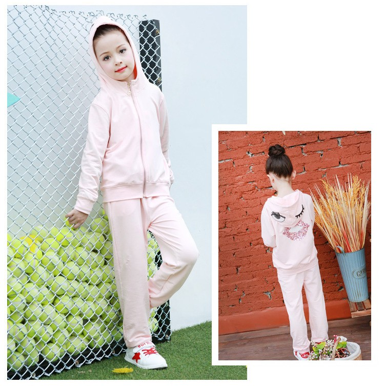 2016 character tracksuits childrens clothing for girls kids hooded hoodies coats pants girl clothes suits gray pink sports sets  5 6 7 8 9 10 11 12 13 14 15 16 years old little big teenage girls clothing set (6)