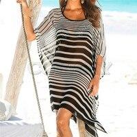 Plus size Chiffon Bohemian Sexy Beach Dress Strip Tunic for Beach Women Summer Holiday Loose Casual Dress Saida de Praia Pareo