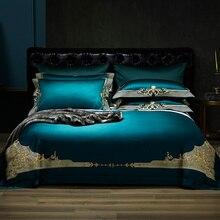 فاخر 1000TC القطن المصري الملكي طقم سرير أوروبا قسط شيك التطريز حاف الغطاء غطاء سرير مجموعة الملكة الملك الحجم 4 قطعة