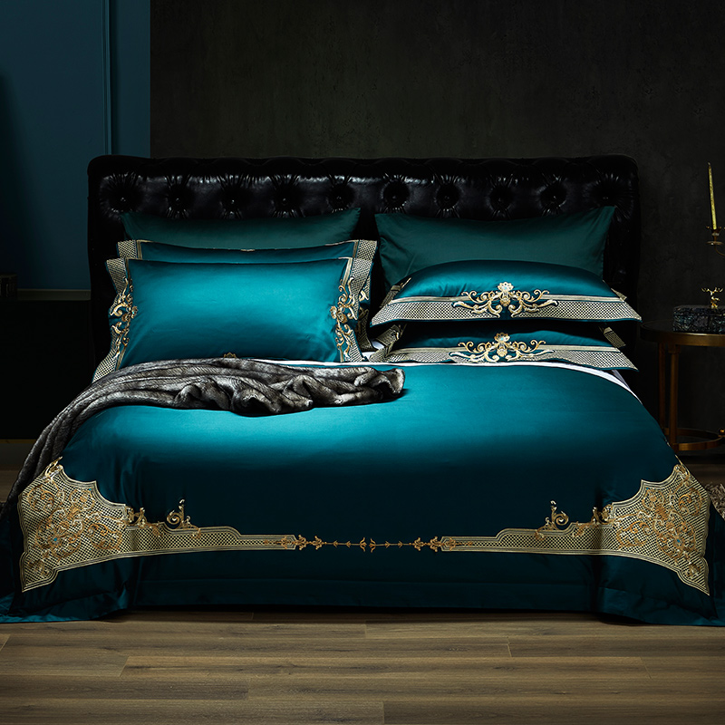 Luxury 1000TC Egyptian Cotton Royal Bedding Set Europe Premium Chic Embroidery Duvet Cover Bed Sheet Set Queen King Size 4Piece