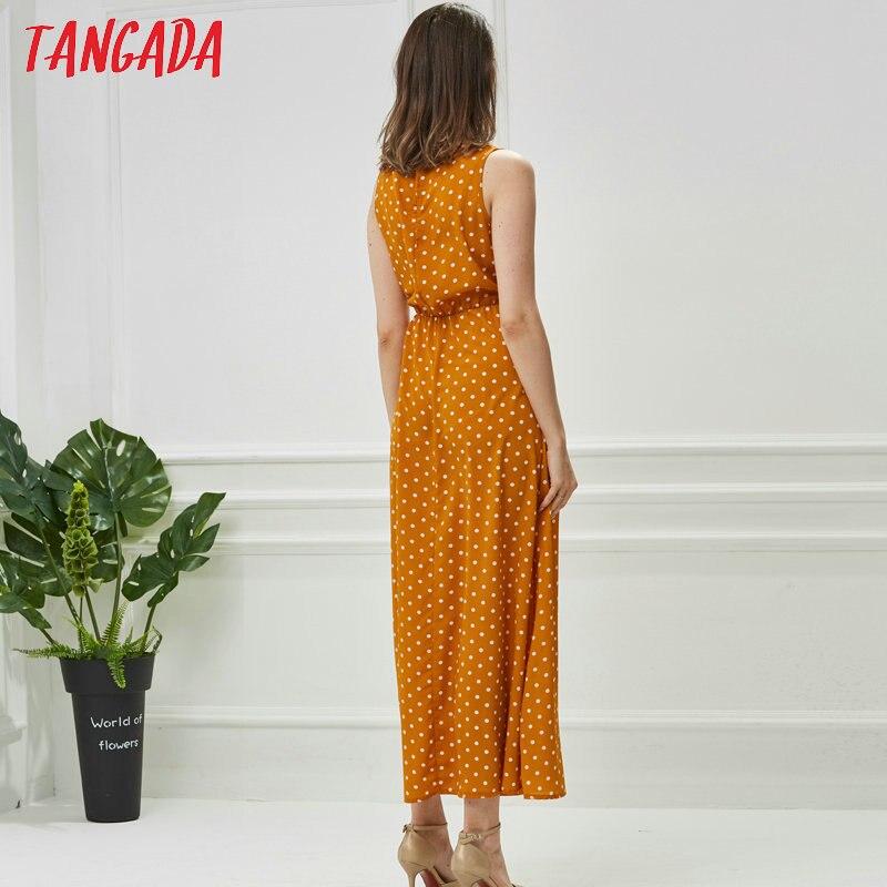 Tangada летнее платье платье в длине миди платье в горошек платье без рукавов летний сарафан длинное платье шифоновое платье черный сарафан же...