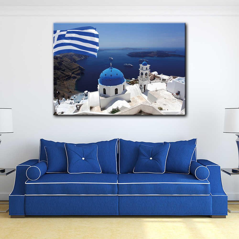 Санторини в греческом Обои Настенная картина Картина на холсте HD печатная