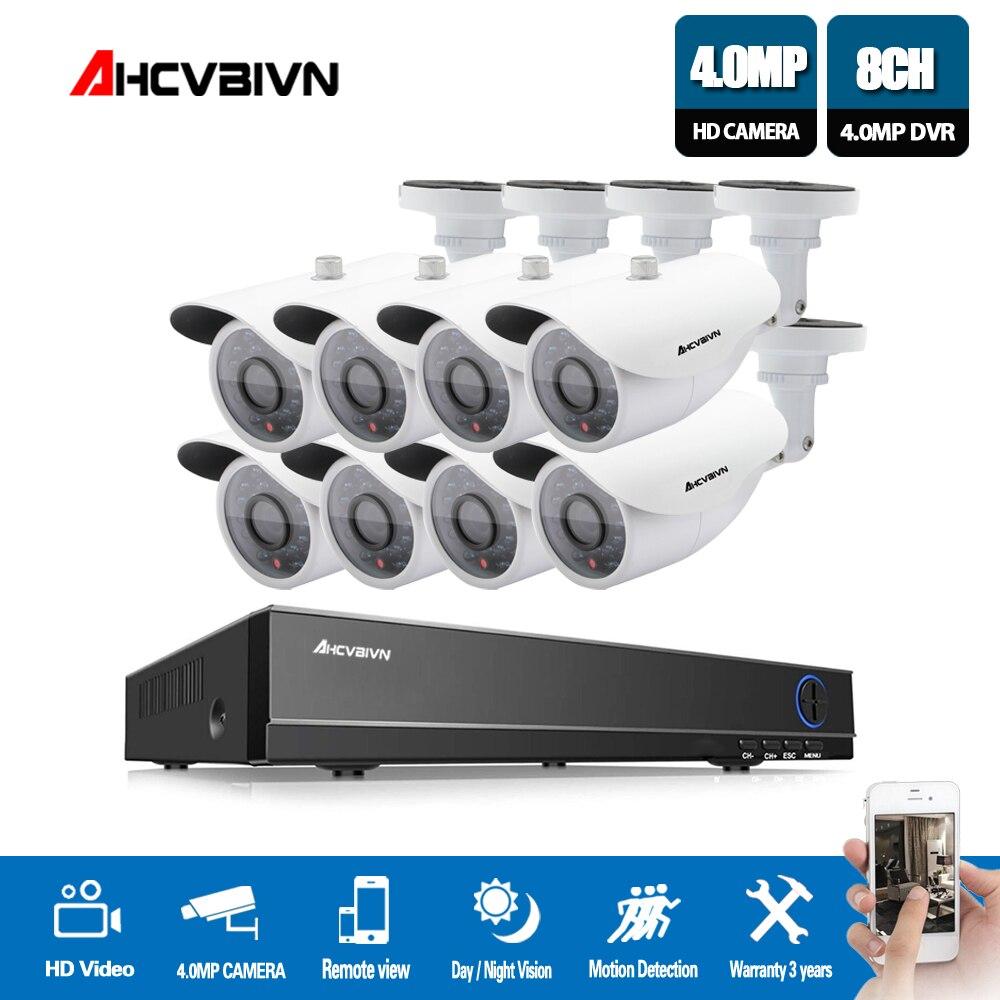 8CH Système DE Surveillance CCTV 4.0MP AHD DVR 8 pièces Caméras DE VIDÉOSURVEILLANCE de surveillance Renforcée IR Caméra De Sécurité Système sans HDD