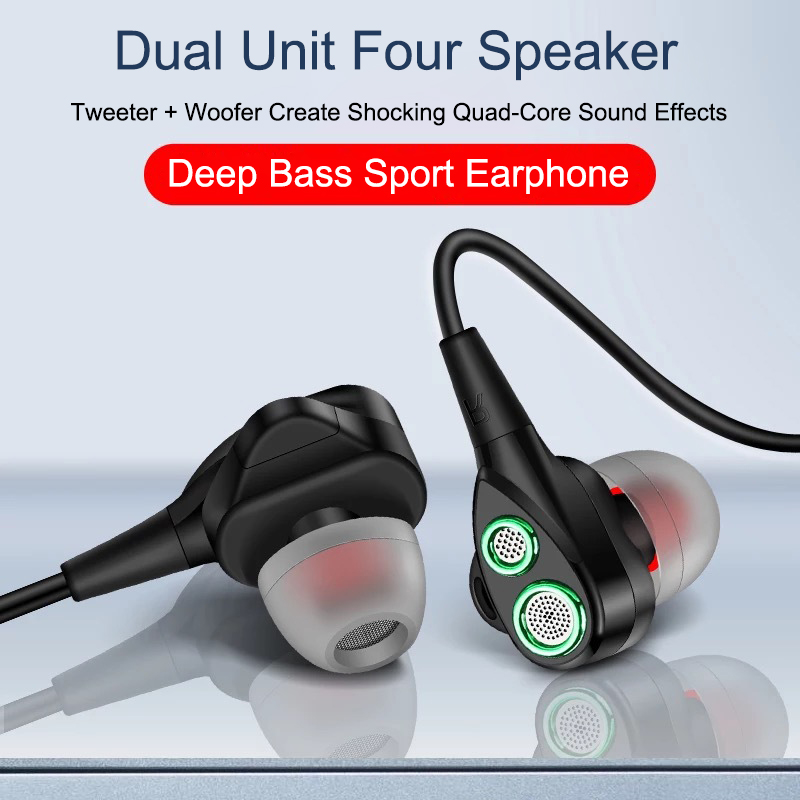EGRINCY Wired Earphone High Bass Dual Drive Dynamic Stereo In-Ear Earphones With Mic Computer Earbuds Handsfree For Phone Sport
