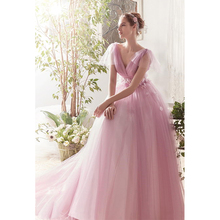 Verngo Pink Tulle Wedding Dress Sleeveless A Line V-neckline Wedding Gowns Flower V-back Bride Dress Vestido De Noiva 2019