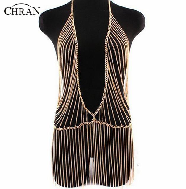 Chran Sexy Unique Design Gold Beach Chain Fashion Women Metal Gold Tassel Beach Harness Chain Necklace Dress Jewelry Accessories