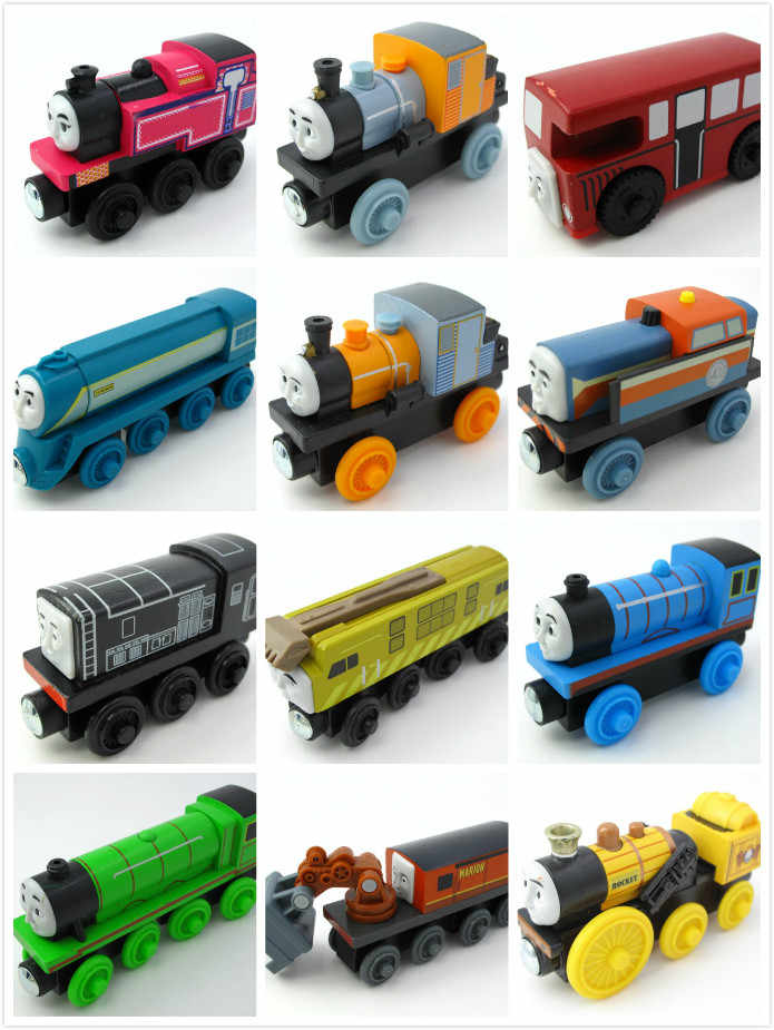 Multi Styles Wooden Train Magnetic Truck Car Locomotive Engine Railway Toys for Children Gift for Kids